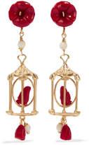 Of Rare Origin - Pagoda Gold Vermeil Multi-stone Earrings - Red