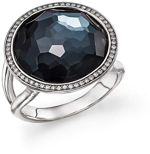 Ippolita Stella Lollipop Ring in Hematite Doublet with Diamonds in Sterling Silver