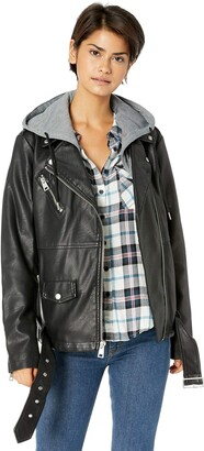 Levi's Women's Faux Leather Oversized Hooded Motorcycle Jacket