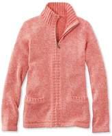 L.L. Bean Marled Cotton Sweater, Zip Cardigan