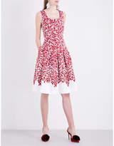 Oscar de la Renta Abstract-print cotton-blend dress