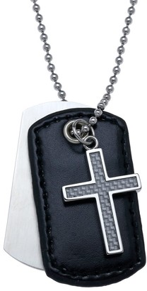 Big Jewelry Co Stainless Steel Men's 3-piece Cross Silver Carbon Leather Dog Tag