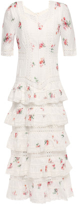 Zimmermann Tiered Pintucked Floral-print Cotton-mousseline Midi Dress