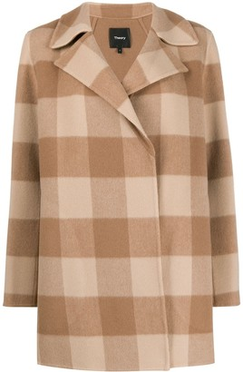 Theory Double-Faced Check Coat