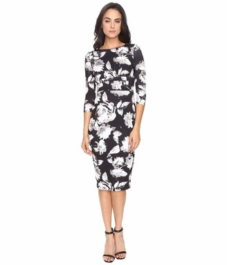 Sangria Women's Long Sleeve Floral Midi Dress