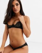 Coco de Mer X Playboy Gilded Heart eyelash lace plunge bra in black