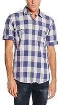 Camel Active Men's Regular Fit Short Sleeve Leisure Shirt - Blue -