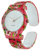 Gossip Floral Print Hinged Bangle Watch w/ Gift Box