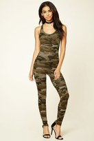 Forever 21 FOREVER 21+ Hooded Camo Print Jumpsuit