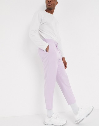 ASOS DESIGN tapered smart pants in lilac