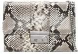 Daniel Ahand Beige Reptile Leather Push Lock Shoulder Bag