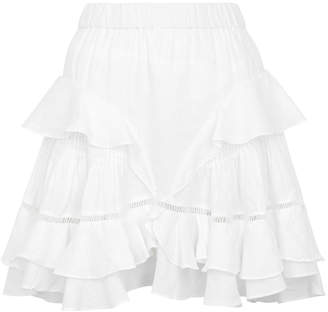 Etoile Isabel Marant Alikaya White Ruffled Linen Mini Skirt