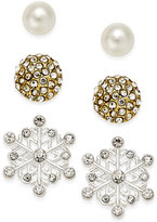 Charter Club Silver-Tone 3-Pc. Snowflake Stud Earring Set, Only at Macy's