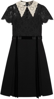Gucci Lace and wool collared dress