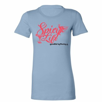 Marky G Apparel Women's Casual Short Sleeve Crewneck Tops Blouses Slim Fit T-Shirt with Spicy Life Printed