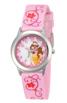 Disney Belle Kids Time Teacher Pink Floral Strap Watch