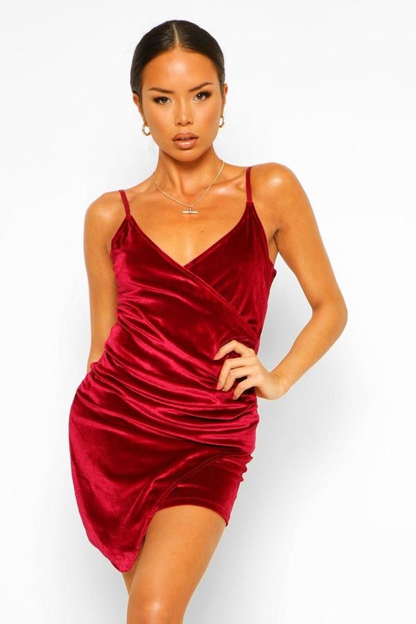 boohoo Velvet Wrap Bodycon Dress