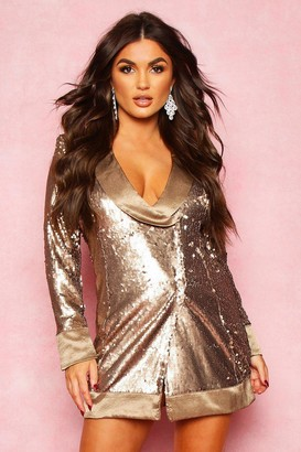boohoo Matte Sequin Wrap Blazer Dress