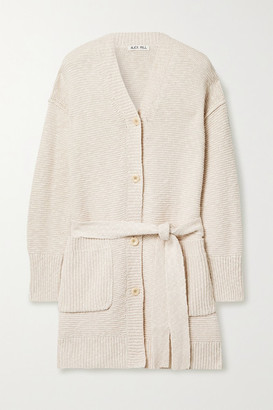 Alex Mill Belted Cotton And Linen-blend Cardigan - Beige