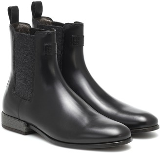 Brunello Cucinelli Cashmere-trimmed leather Chelsea boots