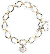 Lagos Two-Tone Caviar Heart Charm Bracelet