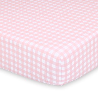The Peanut Shell Farmhouse Pink Gingham Checkered Fitted Crib Sheet