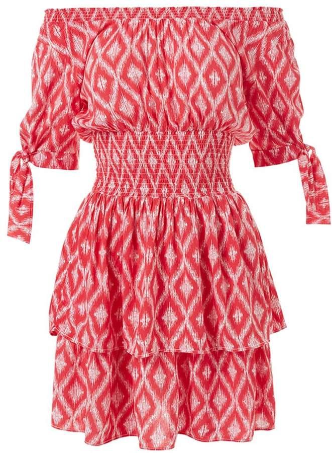 Melissa Odabash Camilla Off-The-Shoulder Print Dress