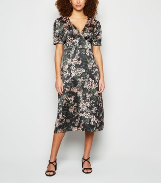 New Look Urban Bliss Satin Floral Button Front Midi Dress
