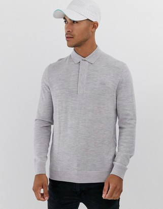 Lacoste collared knitted jumper-Grey