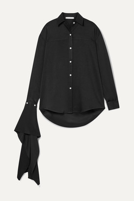 Peter Do Draped Twill Shirt - Black