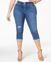 Lee Platinum Plus Size Distressed Slim Cropped Jeans