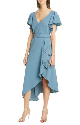Badgley Mischka Ruffle Crepe Cocktail Dress