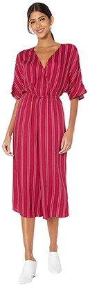 BB Dakota Printed Rayon Crepe Stripe Jumpsuit with Two-Tone Rope Tie (Lipstick Red) Women's Jumpsuit & Rompers One Piece