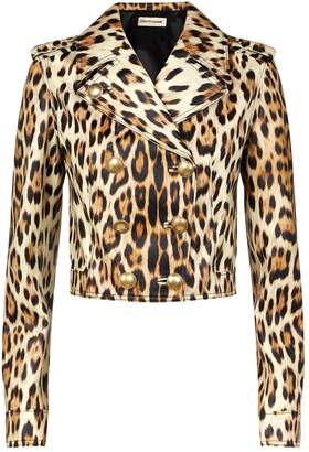 Roberto Cavalli Leopard Print Leather Jacket