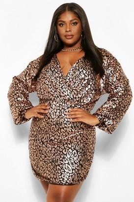 boohoo Plus Sequin Leopard Wrap Bodycon Dress