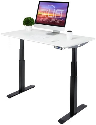 Seville Classics AIRLIFT Black/ White S3 Electric Standing Desk Frame With 54 in Top, Dual Motors