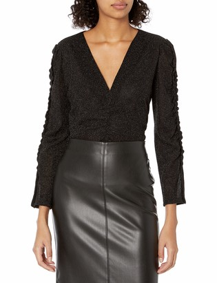 Rebecca Taylor Women's Long Sleeve V-Neck Metallic Jersey Top