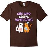 Women's CUTE SHE WHO SLEEPS WITH CATS T-SHIRT Pajamas Gift XL