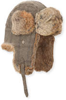 Neiman Marcus Wool-Blend Glen Plaid Trapper Hat, Beige