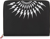 Neil Barrett Thunderbolt print leather document holder