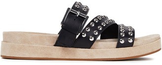 MICHAEL Michael Kors Studded Leather And Suede Slides