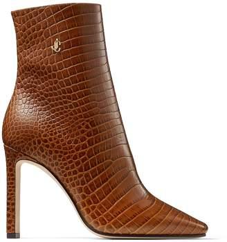 Jimmy Choo Minori 100 Leather Snake Print Boots
