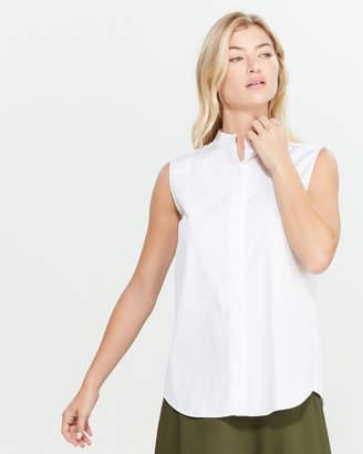 Jil Sander Navy Button Front Sleeveless Shirt