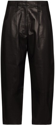 Frame Barrel wide-leg leather trousers