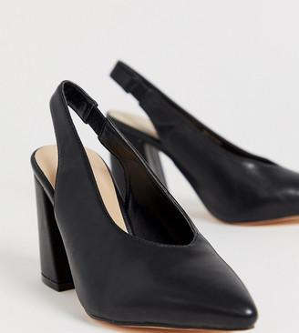 London Rebel wide fit pointed block heels