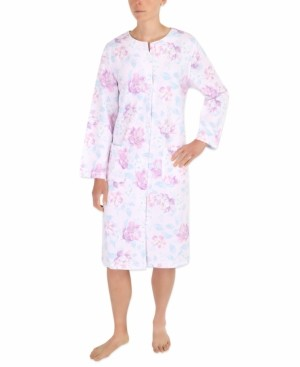Miss Elaine Floral-Print Quilted Robe