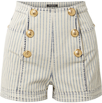 Balmain Button-embellished Striped Denim Shorts - Light blue