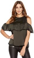 Quiz Khaki Satin Frill Cold Shoulder Top