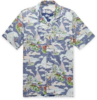Hartford Slim-fit Camp-collar Printed Cotton-chambray Shirt - Blue