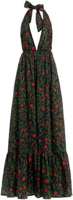 Agua Bendita Oliva Hedera-Print Linen Maxi Halter Dress